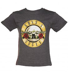 Kids Dark Grey Marl Guns N Roses Logo T-Shirt from Amplified Kids [View details]